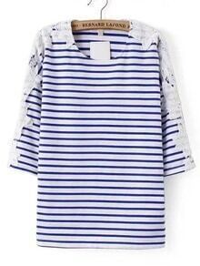 Blue And White Striped Contrast Lace T-shirt