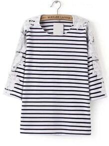 Black And White Striped Contrast Lace T-shirt