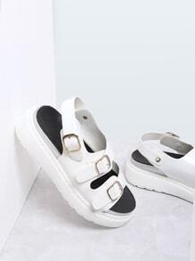 White Buckle Strap Pu Flat Sandals