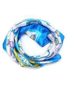 Blue Floral Print Square Scarf