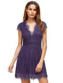 Purple Deep V Neck Cap Sleeve Lace Dress