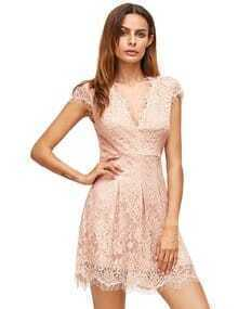 Pink Deep V Neck Cap Sleeve Lace Dress