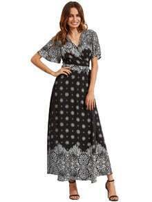 Black Print V Neck Half Sleeve Split Dress