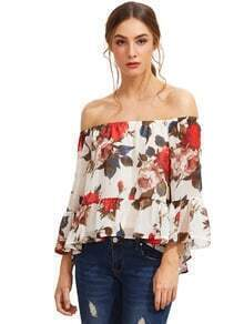 White Floral Off The Shoulder Blouse