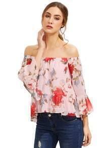 Pink Floral Off The Shoulder Blouse