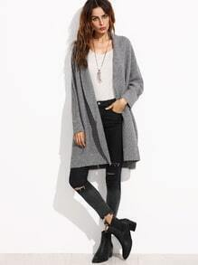 Grey Batwing Sleeve Long Sweater