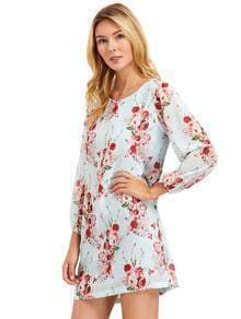 Ligh Blue Lantern Sleeve Floral Shift Dress