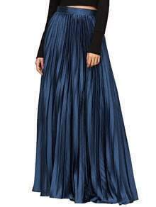 Navy Side Pleated Flare Maxi Skirt