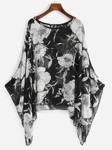 Black Random Floral Loose Chiffon Top