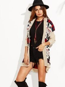 Multicolor Tribal Pattern Drop Shoulder Open Front Cardigan