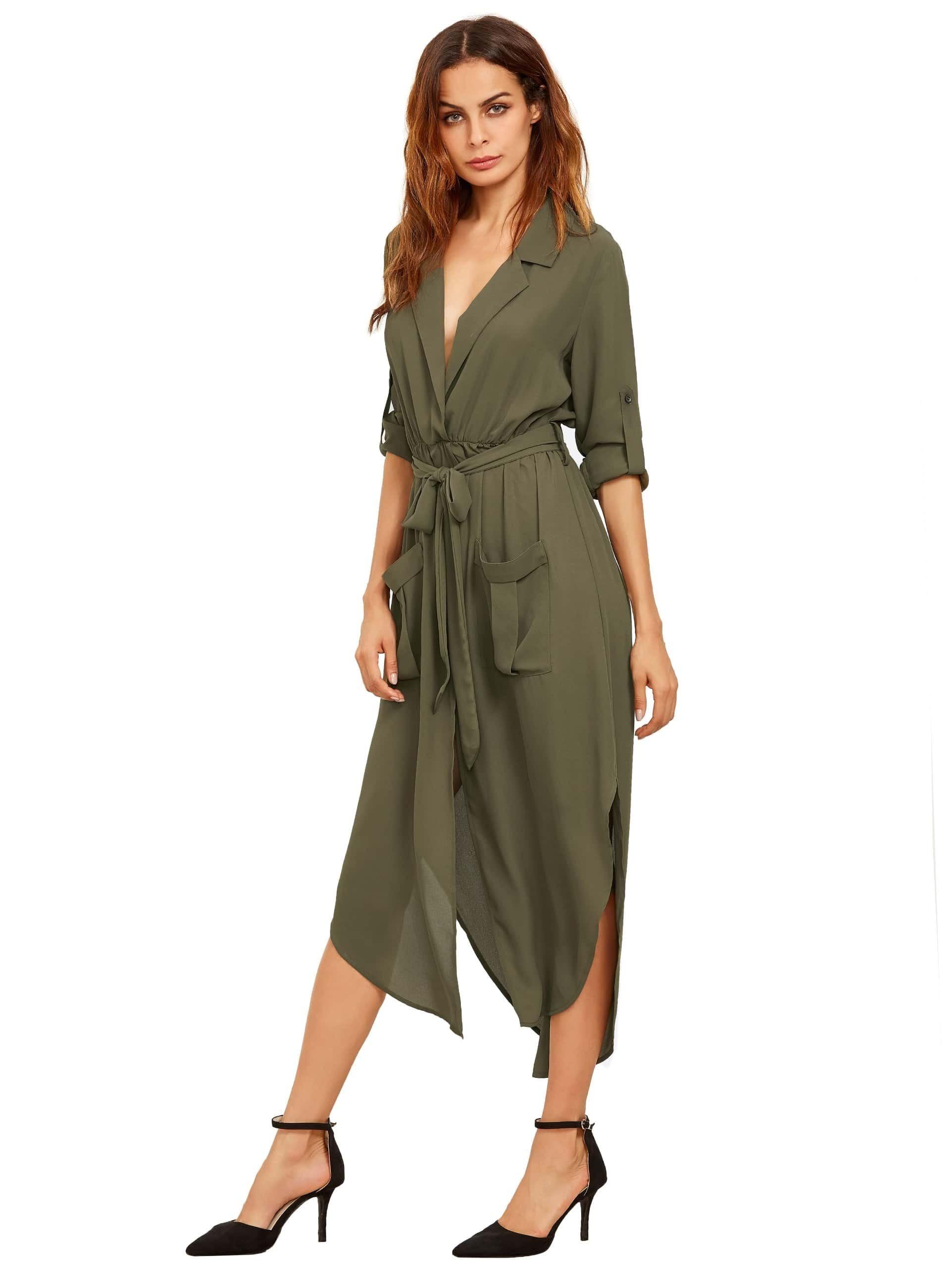 green lapel auto tie haute robe en mousseline de soie avec des poches french romwe. Black Bedroom Furniture Sets. Home Design Ideas