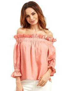 Pink Off The Shoulder Ruffle Half Sleeve Blouse