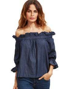 Blue Black Off The Shoulder Ruffle Half Sleeve Blouse