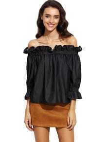 Black Off The Shoulder Ruffle Half Sleeve Blouse