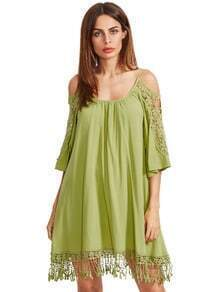 Green Open Shoulder Crochet Lace Sleeve Tassel Dress