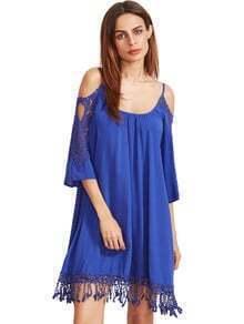 Royal Blue Open Shoulder Crochet Lace Sleeve Tassel Dress
