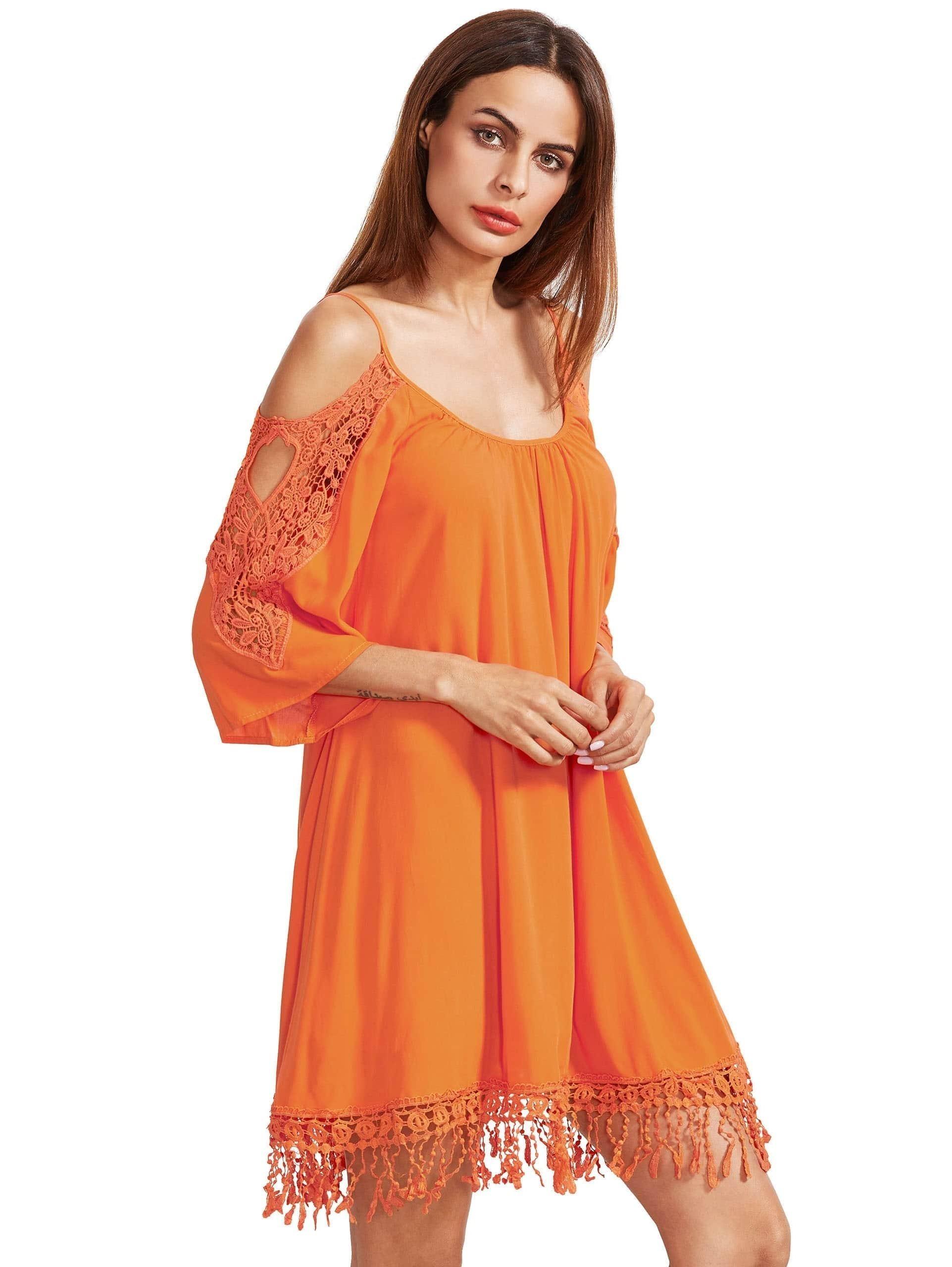 orange open paule crochet dentelle manches robe tassel french romwe. Black Bedroom Furniture Sets. Home Design Ideas