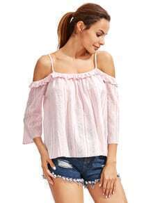 Pink Blue Cold Shoulder Ruffle Blouse