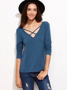 Blue Criss Cross V Neck T-shirt