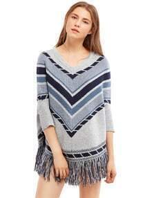 Grey Three Quarter Sleeve Tassel Hem Sweater