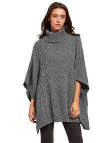 Grey Batwing Sleeve High Neck Sweater