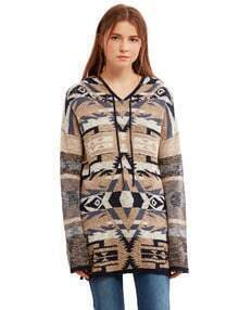 Multicolor Geometric Pattern Hooded Sweater