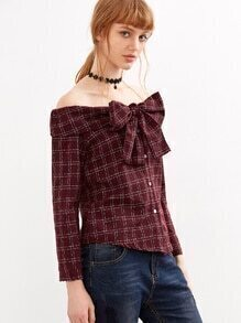 Off The Shoulder Plaid Bow Blouse
