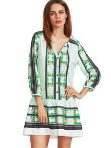 Pale Green V Neck Vintage Print Tunic Dress