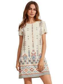 Tribal Print Short Sleeve Shift Dress