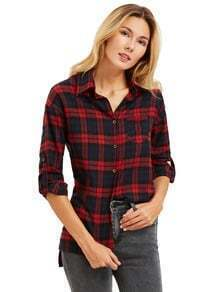 Burgundy Plaid Long Sleeve Pocket Blouse