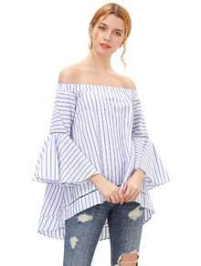 Contrast Striped Off The Shoulder Bell Sleeve Blouse
