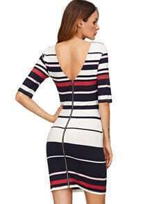Pink Striped Half Sleeve Zipper Design Bodycon Dress