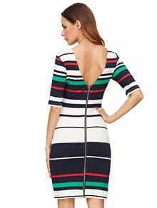 Red Striped Half Sleeve Zipper Design Bodycon Dress