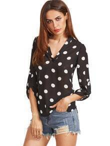 Black And White Polka Dot High Low Blouse