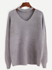 Grey Cut Out Front Sweater