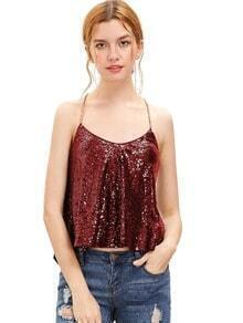 Red Criss Cross Sequined Cami Top