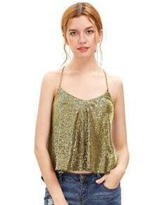 Gold Criss Cross Sequined Cami Top