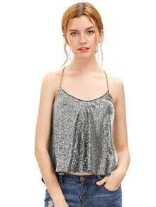 White Criss Cross Sequined Cami Top