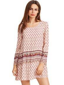 Apricot Tribal Print Shift Dress