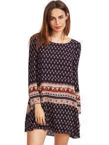 Royal Blue Tribal Print Shift Dress
