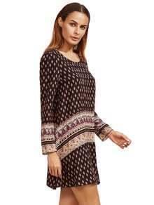 Black Tribal Print Shift Dress