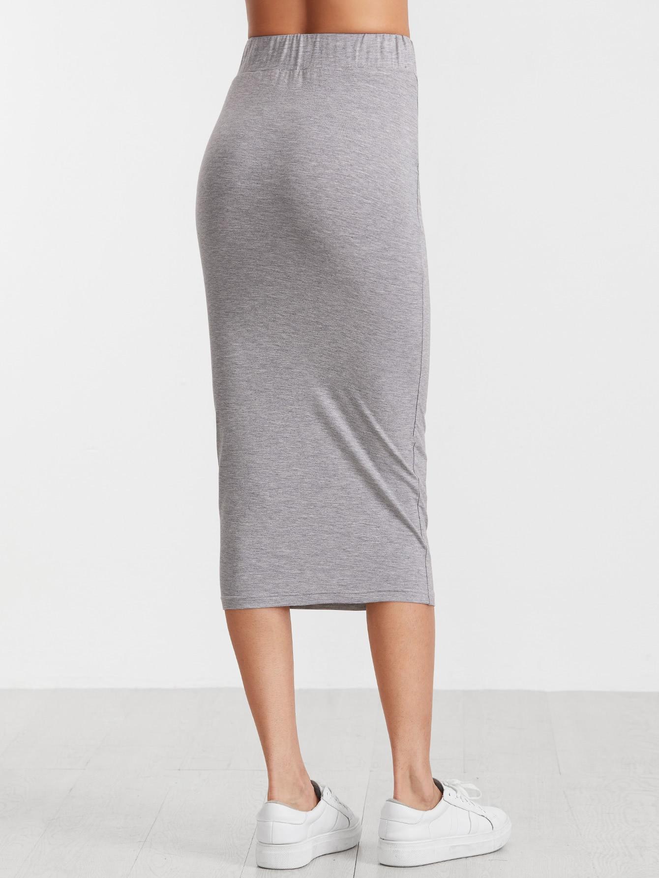 grey elastic waist midi pencil skirt