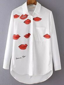 White Lip Print High Low Blouse With Pocket