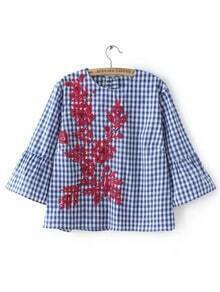 Blue Plaid Contrast Floral Embroidery Blouse