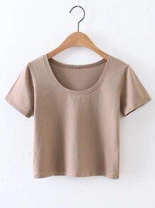 Khaki Short Sleeve Casual Crop Top