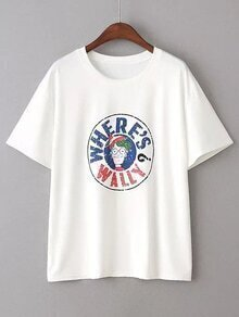 White Letter Print Round Neck T-shirt