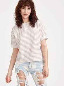 Pink Striped Slit Side High Low Cuffed T-shirt