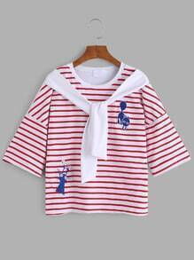 Red Cat Embroidered Striped Fake Two Pieces T-shirt