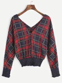 Tartan Plaid Double V Neck Shirred Blouse