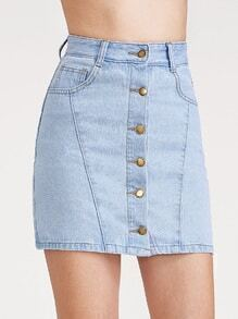 Light Blue Single Breasted Denim Skirt